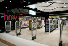 Shop with acoustic ceiling