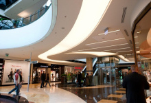 Shopping center installed acoustic ceiling