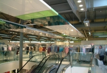 Shopping mall with acoustic ceiling