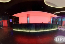 Nightclub with backlit wall