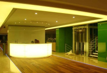 Reception with backlit wall