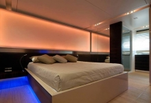 Bedroom with backlit wall