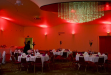 Installed stretch ceiling banquet hall