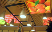 Shopping mall with ceiling print