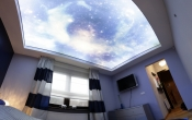 Ceiling with printed sky
