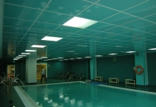 ceiling tiles above swimming pool