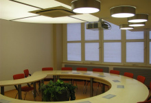 Installed stretch ceiling in conference hall