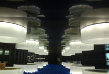 Installed modular light panels in expo
