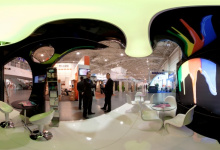 Translucent 3D ceiling in exposition