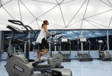 Luminous fitness center ceiling
