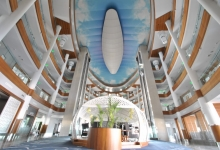 Hotel with printed panorama ceiling
