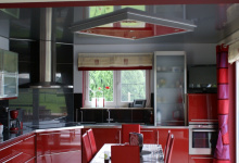 High gloss ceiling in kitchen