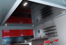 High gloss stretch ceiling in kitchen