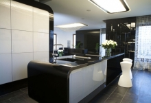 Kitchen with suspended ceiling