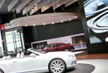 Installed modular ceiling panel in car dealership