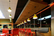 Restaurant with modular ceiling panels