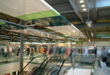 Shop with modular ceiling panel