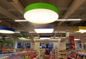 Shopping center with modular light panels