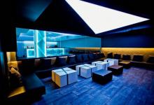 Installed stretch ceiling in nightclub