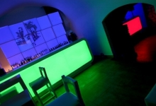 Translucent nighclub ceiling