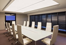 Installed translucent ceiling in office