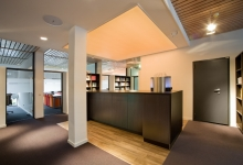 Office reception with translucent ceiling