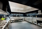 Kitchen with installed stretch ceiling