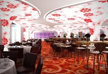 Printed ceiling inside restaurant