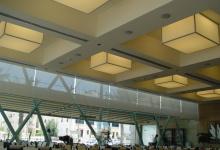 Light panels inside restaurant