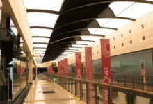 Shopping center with stretch ceiling