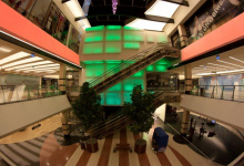Luminous stretch ceiling in shopping mall