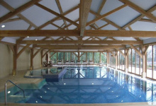 Stretch ceilings above swimming pool