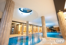 Suspended ceiling above swimming pool