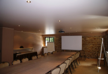 Conference room with suspended ceiling