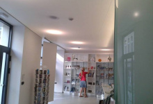 Shop with suspended ceiling